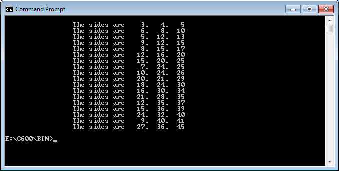 Pythagorean Triples program-output-png