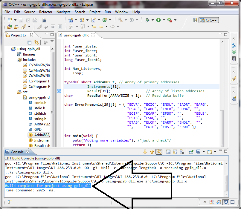 Re Writing Instrumentation Gpib C Program In Eclipse