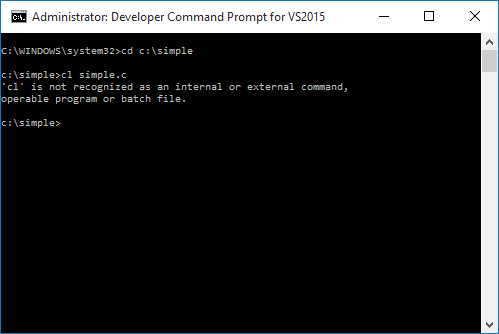 Compiling c program from command prompt vs2015 developer Execute c code