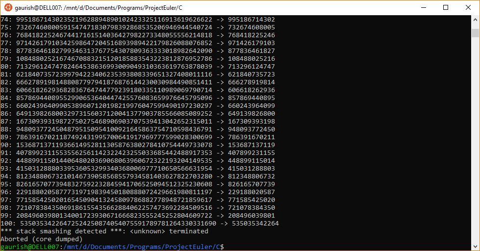 ProjectEuler 13: Program behaves abnormally/differently in different environments-linux_gcc-jpg