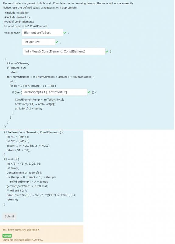 Fill in the blank code - generic Bubble sort - C-jpg