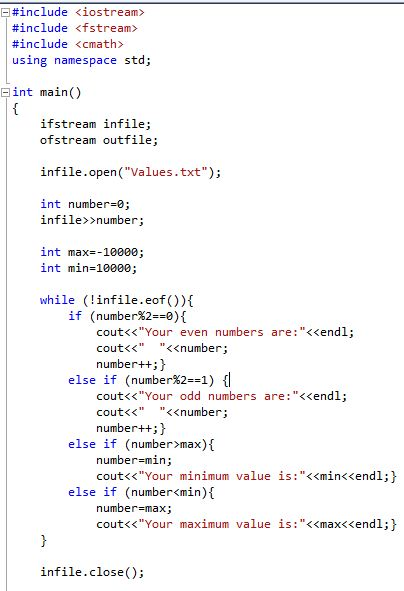 Sorting Even/Odd numbers and Max/min from a file using while loops-capture-jpg