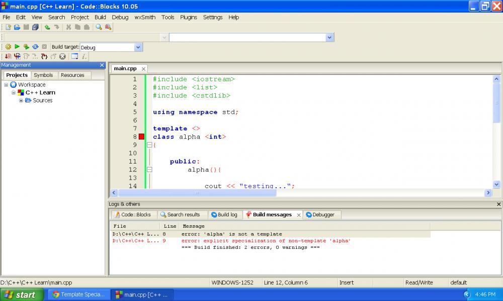 Template specialization not working in Code::Blocks...-untitled-jpg