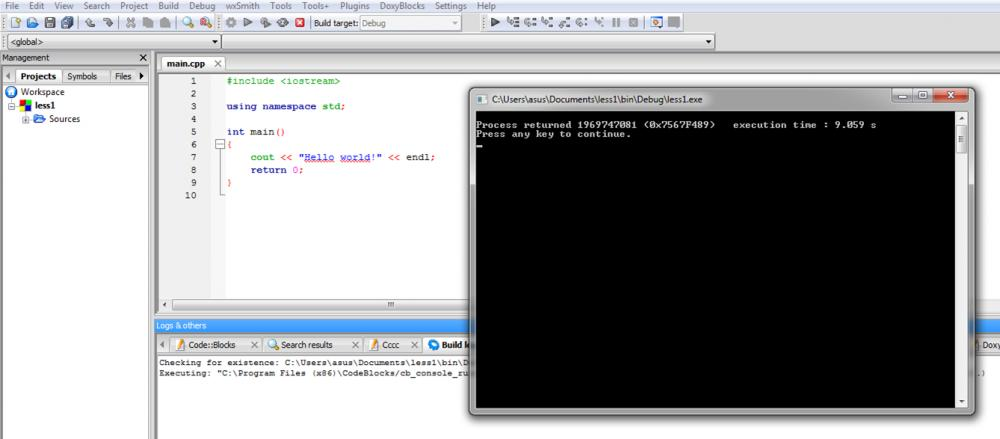 """A Beginner's Inquiry: Missing output """"Hello World!"""" in Code blocks compiler-picture1-jpg"""