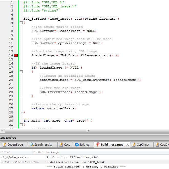 "Code::Bocks 10.05 SDL_image setup woes - ""Undefined reference to IMG_Load""-sdl1-png"
