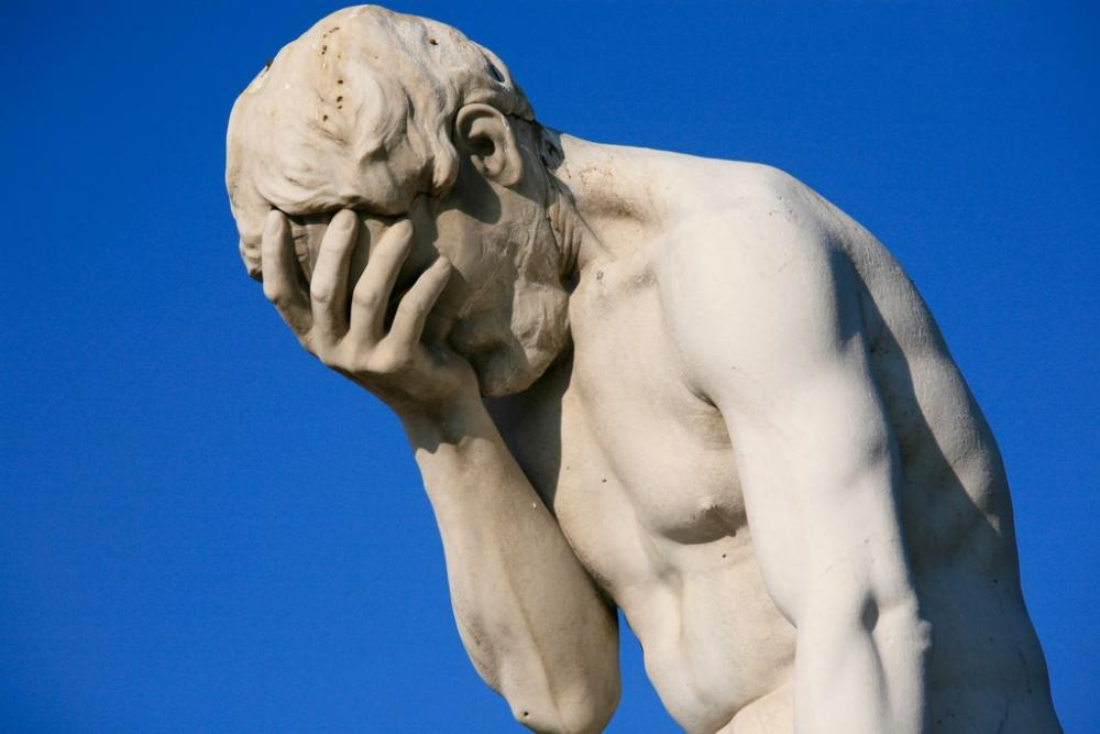 Now that I'm used to C++, printf() >>>>>> cout >> endl;-paris_tuileries_garden_facepalm_statue-jpg