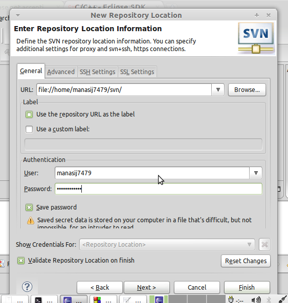 Error in adding a local SVN Repository in Subclipse(of Eclipse Galileo)-screenshot-png