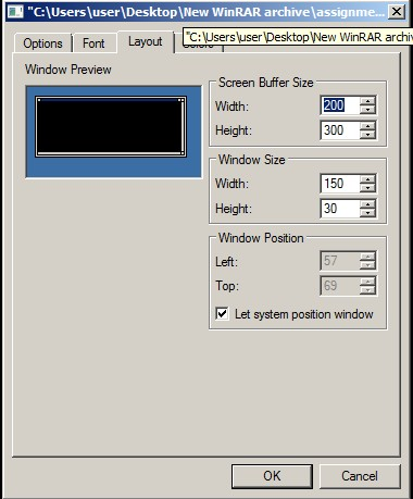 How to initialize screen size and screen buffer size?-c-jpg